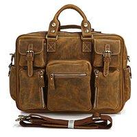 "Rare Crazy Horse Leather Men's Brown Business Briefcase Laptop Bag Dispatch Shoulder Huge 16.5"" FREE SHIP #7028B"