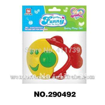 Fast shipping 6pcs/lot Cheapest price Vivi color fish design ,baby rattle toys,