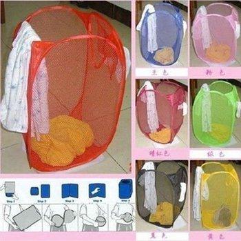 free shipping foldable laundry basket/mesh laundry basket/Pop-Up laundry Hamper