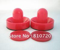"Free shipping 2PCS Mini red Air Hockey Table 67mm Goalies Pusher mallet & 2PCS 50mm Puck  2""  NEW"
