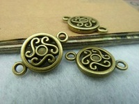 40pcs/lot Vintage Bronze Round Charms Connectors 12*19mm Handmade Diy Jewellery Making 2554
