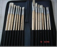 Oil Paint Brushes,Round and Flat16pcs Paint Brushes set,Bag Packed Wooden Brushes,free shipping