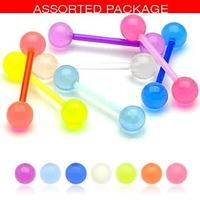 60 Flexible Glow In The Dark Ball Tongue Bar Rings Body Jewellery