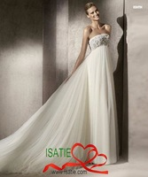 NEW Style Free shipping Tube Dress floor-length chapel train Silky Organza Diamond Wedding dress#1EA0088