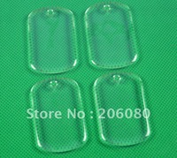 Wholesale   Free Shipping 1000 pcs 50mm*30mm with 3mm hole clear dog tag epoxy  for crafts