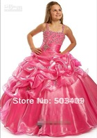 Popular pink flower girl dress PROM dresses and length Anke beautiful beads size 6 8 10