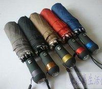 LED Flashlight Umbrella automatic self-closing triple white-collar umbrella