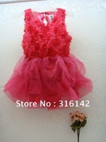 Платье для девочек 2013 fashion style baby short sleeve t shirt with big flower+dress sets, girl tutu dress sets, b2w2 dress, QZ-002