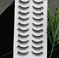 10 Pairs Black Long Thick False Fake EyeLashes Eye Lashes Fibre Makeup Natural #02 Free shipping