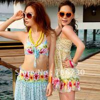 (10pcs/lot) Free Shipping 2012 Crazy Hot Beautiful Flowers Steel Prop Gather Ladies'/Women Bikini Set,Sexy Fashion Bikini Set