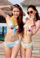 (10pcs/lot) Free Shipping 2012 Crazy Hot Beautiful Flowers Gather Ladies'/Women Bikini Set,Sexy Fashion Bikini Set,3Colors