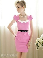 Free Shipping High Quality Graceful Slim Flouncing Lap Short Sleeves Dress Pink, Summer Women's Dresses
