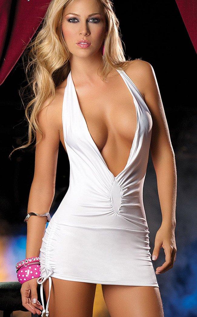 White Dress Low Cut Dress White Low-cut Sexy