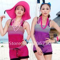 (10pcs/lot) Free Shipping 2012 Wholesale Crazy Hot Hyun Color Stripes Bikini Suit,Ladies'/Women Sexy Bikini Set,2Colors,M-L-XL