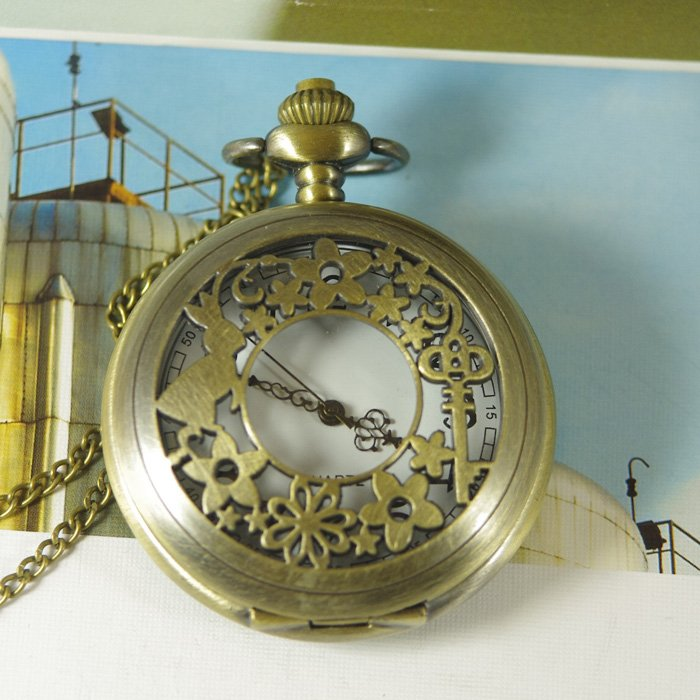 2012 Free shipping hot sale wholesale ladies mens New Antique Pocket Watch Necklace bronze Ruby&Key fantasy wp313(China (Mainland))