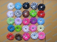 27 colors 2 Inch Baby Crystal Flower Hair Bow Clip 2'' Girl Gerbera Flowers 2Inch Hair Clips 240 pcs