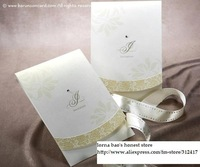 Top rated 12.7cm*18.3cm jeweled wedding cards invitation with ribbon