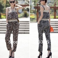 Fashion Women Ladies Summer Cotton Blends Spaghetti Strap Leopard Long Romper Jumpsuits Brown Grey Free Shipping