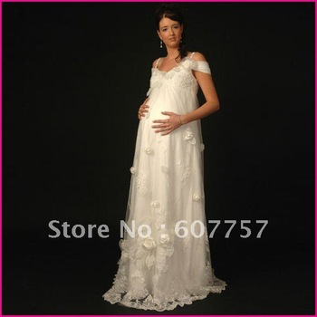 Double Straps White Lace Organza Flowers Ruffled Applique Beaded Empire Pregnant Woman Wedding Dress,Maternity Bridal Gown H096