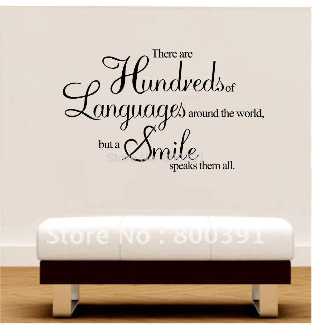 Free shipping 60 80cm vinyl wall quotes a smile speaks for Home decor quotes on wall