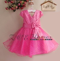 Free Shipping (6 pcs/lot) New 2012 Eudora Hot Pink Girl dress with Bow Sizes: 3 #/4# /6#/ 8#/ 10 #/12# (3T-8T)