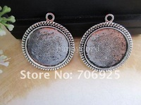 Free shipping Wholesale 25mm Antique Silver Round Cabochon Pendant Base 50pcs/lot