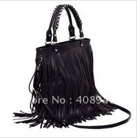 120115 Ladies' bags New Fashion Womens Punk Double Side Tassel Fringe Leather handbag Shoulder Bag