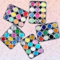 60 Colour Glitter Nail Acrylic Powder Dust sheet Sets Free Shipping