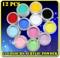 12 PCS Acrylic Powder Builders For Nail Art In 12 Colors Net 12g Freeshipping