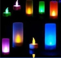 Flameless Flickering Electronic Colorful Tea Light LED Magic Candle 7 Changing Colors , Voice control  weddings, parties