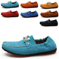 """shoesmansway"" fashion genuine leather men Moccasin Gommino (Yellow, Sky Blue, Blue, Orange, Red, Dark Blue, Brown) sz 39 to 44"