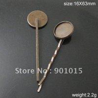 Free shipping Hairpin Clips,Brass, base inside diameter: 16mm,length:63mm,ID10799