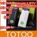 In Stock ! HOT  Android 4.0 Mini PC IPTV Google Internet TV Smart Android Box 1GB DDR3 RAM 4GB ROM Allwinner A10 MK802