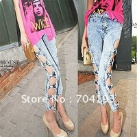 Hot Sale Classical Vintage Detailed Woman Side Bow Cutout Ripped Denim Sexy Jeans leggings Trousers