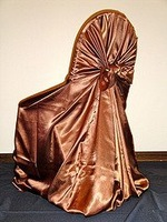 Free shipping / top quality copper self-tie satin chair cover/pillow case satin chair cover