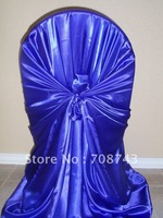 Free shipping / top quality  royal blue self-tie satin chair cover/pillow case satin chair cover