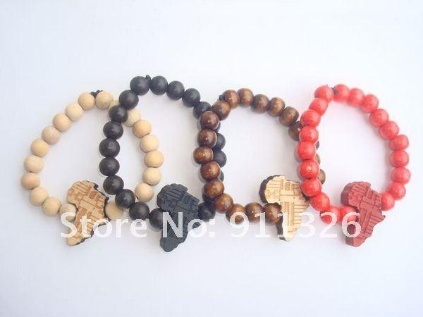 product African hip-hop HIP HOP map bracelet adorn article wooden hand catenary good wood bracelet