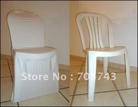 Free shipping -Top quality white  spandex chair cover for plastic chair