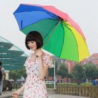 Large umbrella surface three rainbow umbrella folding sunshade anti-UV umbrella