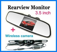 Free shipping!!New 3.5 inch LCD Mirror Monitor+2.4Ghz Wireless Car Rear View Reversing Camera