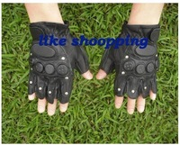 tactical gloves Army Airsoft Mens Black Leather fingerless Gloves free shipping
