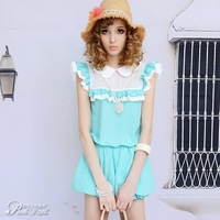 2012 SUMMER  blue Splicing  petal collar ruffle loose girl  jumpsuit jumpsuits and rompers size L