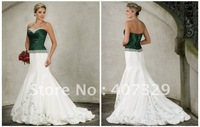 2012 New-arrival Free Shipping Custom Made A-line Off-shoulder Sweetheart Embroidered Taffeta Wedding Dress