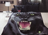 Hot Fashion New  Beautiful 100% Cotton 4pc Doona Duvet QUILT Cover Set bedding set Queen/  King size Leopard Black