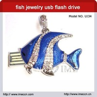 Free shipping ,cute jewelry fish usb drive with necklace  2G4G8G16G32G for option