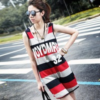 2012 spring one-piece dress female slim basic with a hood stripe casual tank dress q5087