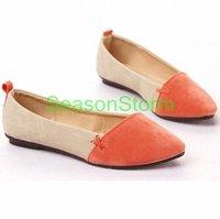 [EMS Free Shipping] Wholesale Womens Fashion Casual PU Block Color Flat Shoes 4 Color (SZ-05E)