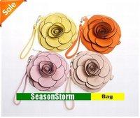 [EMS Free Shipping] Wholesale Multi-Color Fashion Ladies Camellia Flower Clutch Bags / Zero Purse (SG-33E)