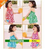 [EMS Free Shipping] Wholesale Kids Cute Cotton Beach Dress / Girls Fashion Summer Brace Skirt 4 Colors (SY-41E)