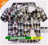 [EMS Free Shipping] Wholesale Mens Casual Short Sleeve Grid Shirts / Slim Stripte Collar Shirt 6 Color (SU-63E)